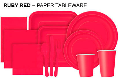 Plain Coloured Tableware Ruby Red