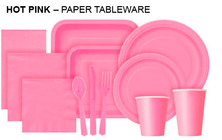 Plain Coloured Tableware Hot Pink